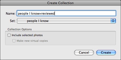 Create collection dialog