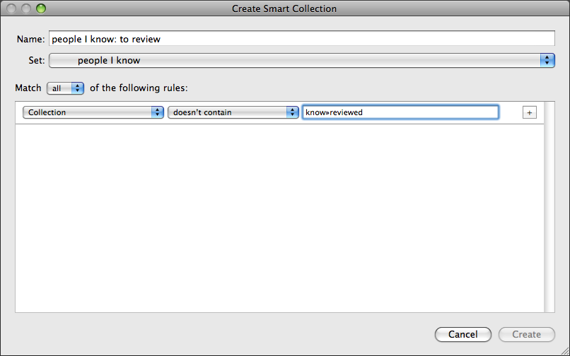 Create smart collection dialog