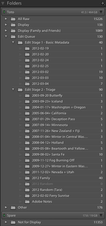 Folders panel